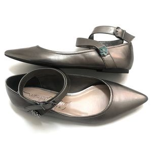 Libby Edelman Ryann Pewter Pointed Toe Flats 9.5M